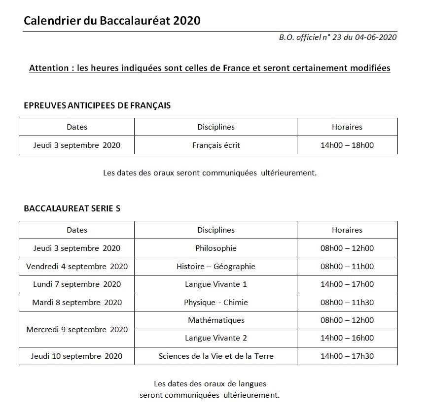 Calendrier baccalaureat 2020