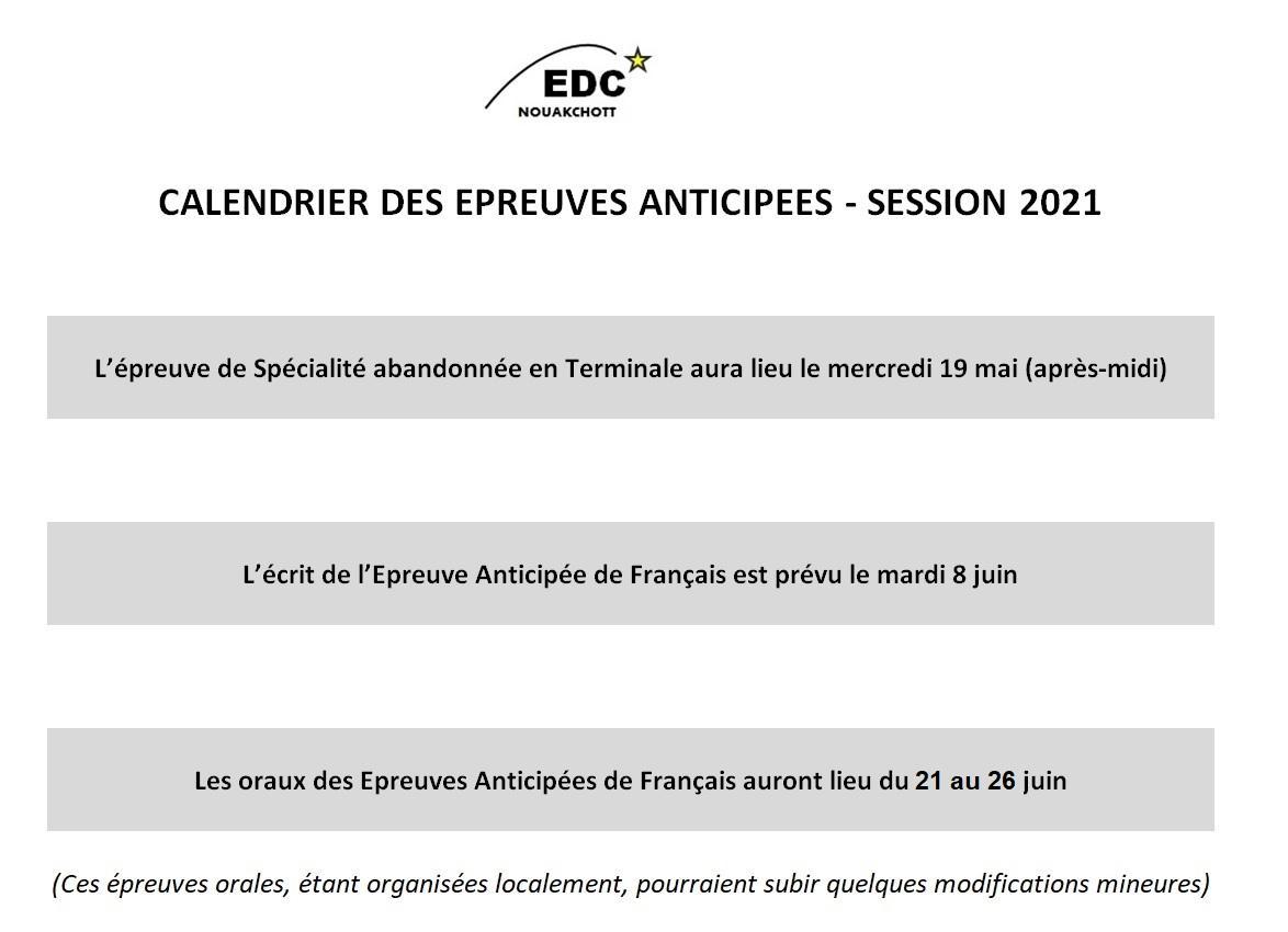 Calendrier des anticipees de francais 2021