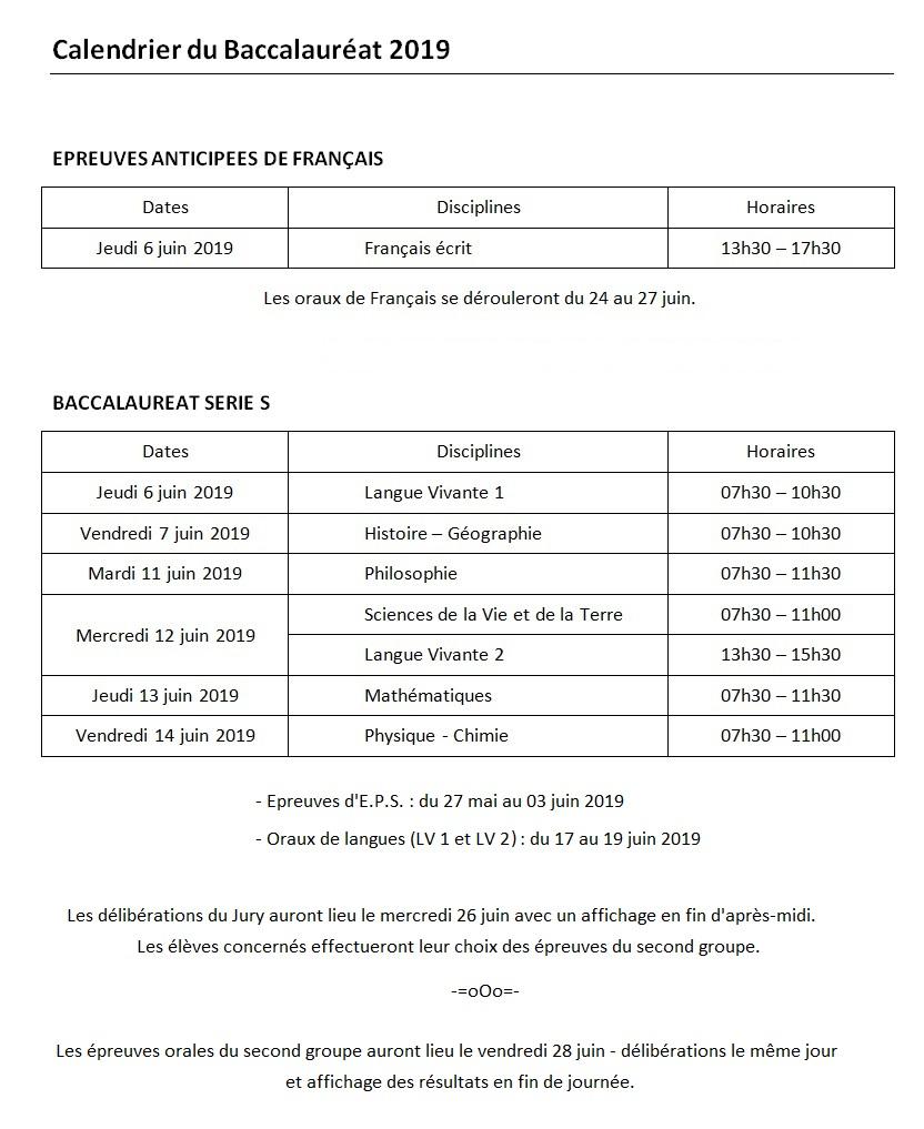 Calendrier du baccalaureat 2019