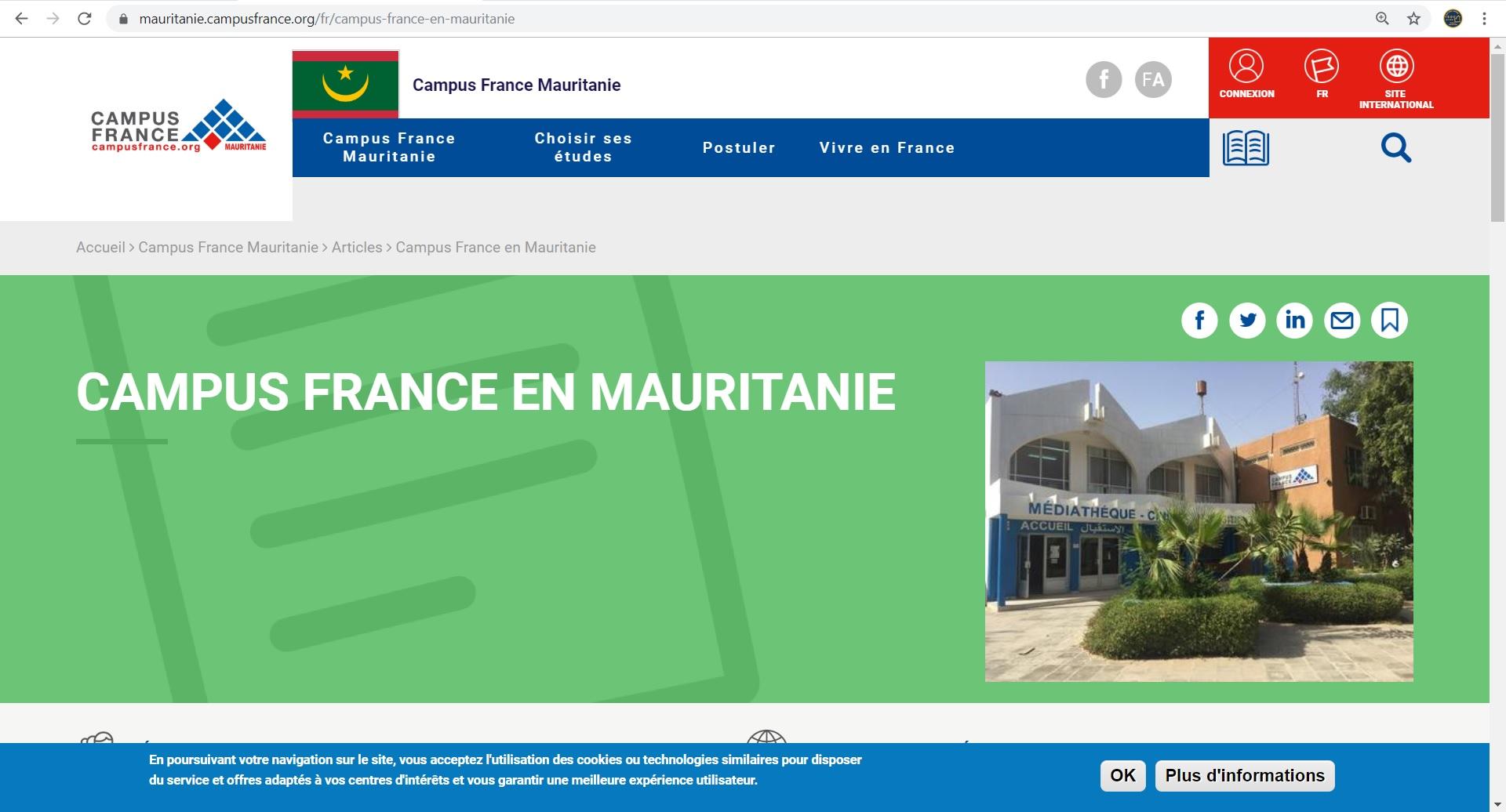 Ecran d accueil campus france mauritanie