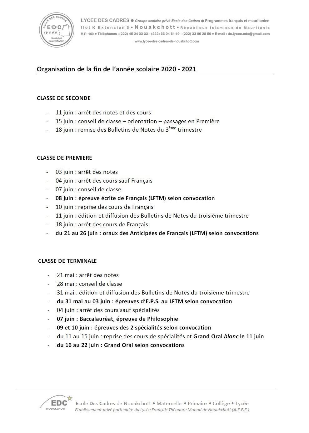 Organisation de la fin d annee scolaire 2020 2021