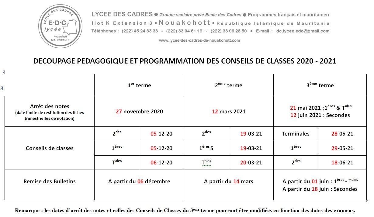 Programmation des cdc 2020 2021